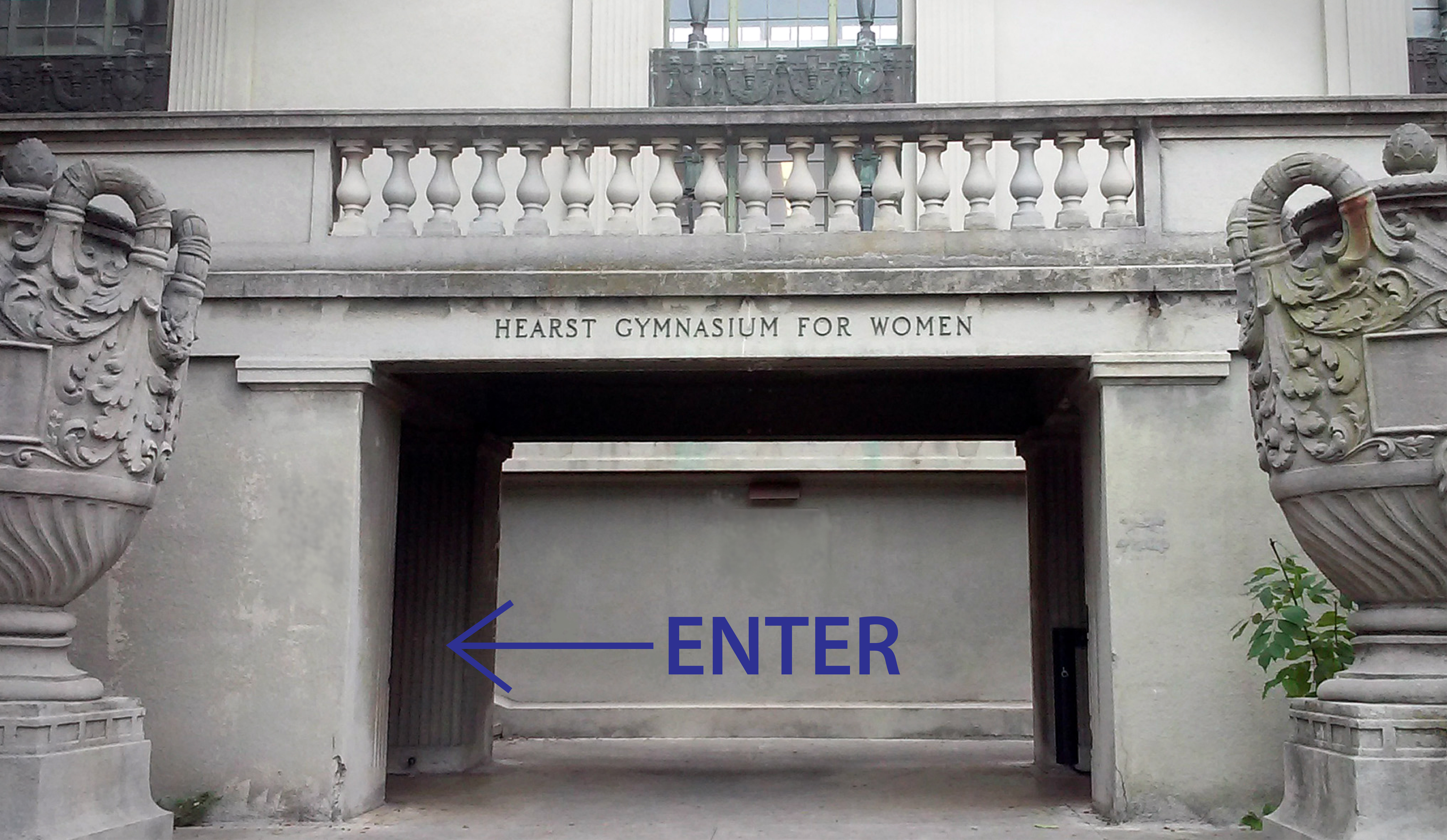 West entrance of Hearst Gymnasium, enter through the left doors.