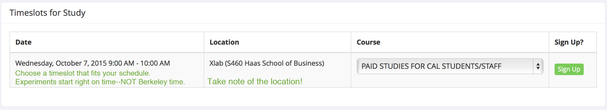 Screenshot of Timeslot for Study page on Sona Systems; tells user when session times are for a particilar study.